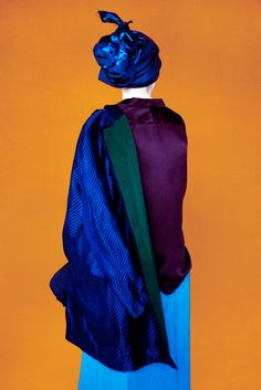 Spring in Reverse: Detailed Backs Take Center Stage, by Erik Madigan Heck. Haider Ackermann black and blue coat, silk blouse, and violet pant. Editorial Fashion, Fashion Art, Fashion Beauty, Editorial Photography, Fashion Photography, Timeless Photography, Artistic Photography, Portraits, Color Stories