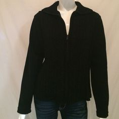 """Basic Editions Black Zipper Down Sweater. Basic Edition black zipper down sweater with long sleeves. 100% Polvester and 100% Acrylic. Hand Wash Cold. Armpit to armpit 21"""", Length of Sweater 24"""", Sleeve Length 25"""". Basic Editions Sweaters V-Necks"""