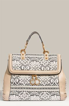"Dolce&Gabbana; ""Miss Roce"" Lace and Leather Satchel. I would never be able to afford this but I need to figure out a DIY project"