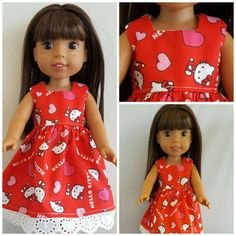 Wellie Wisher Handmade Doll Clothes. Great Valentines Day Gift. https://mysistersdollclothes.patternbyetsy.com #welliewisher #americangirl