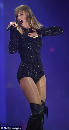 Adding some sparkle: The beauty took to stage in a number of show-stopping outfits, one of which was a sexy sequin encrusted bodysuit Estilo Taylor Swift, All About Taylor Swift, Taylor Swift Music, Taylor Swift Hot, Taylor Swift Style, Demi Lovato Body, Swift Tour, Taylor Swift Wallpaper, Nyc