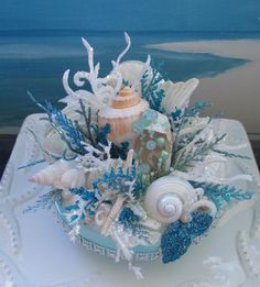 Seashell Coral Reef Wedding Cake Topper~designed by CeShoreTreasures on Etsy~