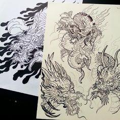 oriental traditional dragons tattoo sketch head body