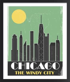 Chicago Skyline Poster by FlyGraphics on Etsy, $25.00