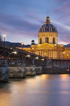 Twilight over Academie Francaise and River Seine, Paris