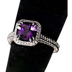 Pre-owned Vibrant Amethyst Ring Wround Baguette Cut Diamonds 18k Wht... ($2,515) ❤ liked on Polyvore featuring jewelry, rings, accessories, purple, purple amethyst ring, channel set diamond ring, cushion cut diamond ring, purple ring and baguette diamond rings