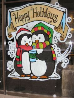 Kijiji: HOLIDAY-THEMED WINDOW PAINTINGS! #windows #paintedwindows #acrylic