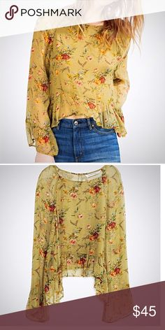 Zara Premium Collection bell sleeve top, NWT An updated silhouette to this retro style makes this top feminine, flirty & right on trend. A sheer olive color with a subtle, beautiful floral print. Zara Tops