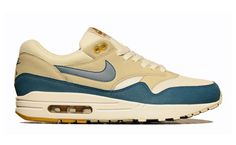 Nike Air Max 1 Summit White/Shaded Blue-Sandtrap.  Muted casual #Nike