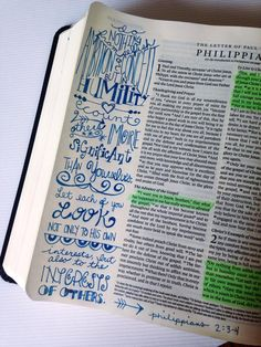 #journalingbible   Scripture art in Journaling Bible.  Philippians.  This is a good idea for stating the main idea of the chapter or one of the most important verses on the first page of the book.