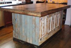 Large Island made from reclaimed doors and BC Fir top