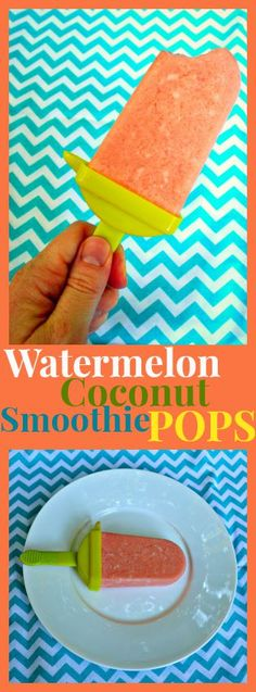 Refreshing, no sugar added Watermelon Coconut Smoothie Pops #summertime