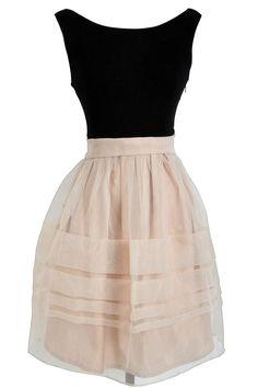 Posh Beige and Black Mesh Chiffon Overlay Dress