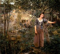 Jules Bastien-Lepage (Jules Bastien Lepage): Joan of Arc--This is one of my favorite paintings at the Metropolitan Museum in NYC.  It's life size and shows Joan as she realizes that God is calling her.