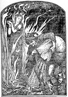 Martin Extinguishes the Flames - The Yellow Fairy Book by Andrew Lang, 1894