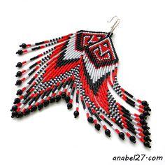 Длинные серьги из бисера - красный / черный / белый