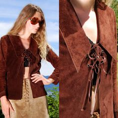 Vintage 70s Suede Jacket MISS ETAM Small Lace Up Top, Chocolate Brown Suede Leather Coat, 60's Mod Boho Hippie Chic, Pointed Collar Lapel by SurfandtheCity, $116.00