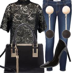 Il pizzo nero della camicetta abbinato ai jeans skinny  scarpe décollètè con  tacco alto 1f9cb553e77
