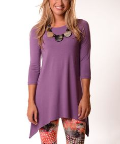 ada134eda51 Lbisse Lilac Three-Quarter Sleeve Sidetail Tunic - Plus