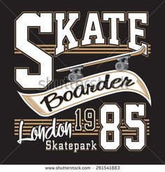 London skate board typography, t-shirt graphics, vectors