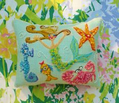Sea Life Freehand Embroidered Crewel Pillow Made To by YelliKelli, $75.00