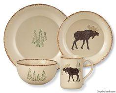 Rustic Retreat Moose Dinner Plate, Salad Plate, Cereal Bowl & Ceramic Mug