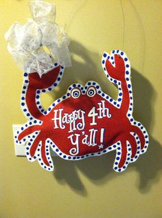 Custom Crab Burlap Door Hanger  by TheBurlapAristocrat on Etsy, $30.00