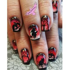 Red hand painted Halloween nails.  Nail art with a cat witch dead trees and pumpkins @the_pinkraven  @customs_by_christy