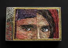 "Cynthia Toops: Sharbat Gula, Found, Polymer mosaic brooch set in sterling silver. 2 x 1 1/4""."