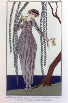 A Peg-top silhouette was the beginning of fashion where the clothes began to follow more along the natural curves of the body. With fullness concentrated at the hip, the skirt narrowed gradually to the ankles.