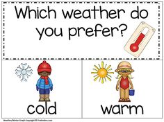 Printable weather-themed graph for a quick and simple large group lesson. For preschool, Pre-K, and Kindergarten teachers.