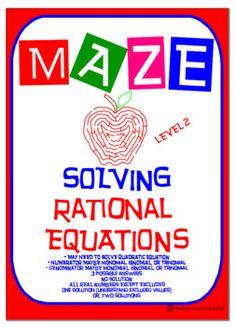 Maze - Solve Rational Equations (Level 2)