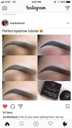 - Prom Makeup Looks Eyebrow Makeup Tips, Beauty Makeup Tips, Eyebrow Pencil, Skin Makeup, Eyeshadow Makeup, Makeup Eyebrows, Perfect Eyebrows Tutorial, Eyebrow Tutorial, Perfect Brows