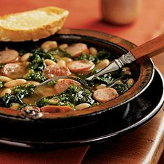 Cannellini Stew with Sausage and Kale and Cheese Toasts | Cookinglight.com