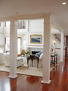 Delightful Interior Columns Connected W/ Beam For Separation Of Rooms