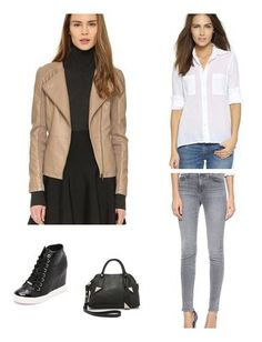 Preppy button down, edgy leather and sporty sneakers unite in this cool, city girl look.