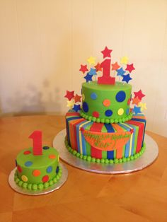 Bright Colored Cakes | bright color 1st birthday cake « Main Made Custom Cakes