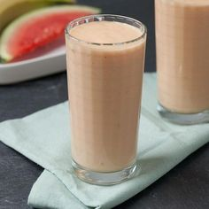 This satisfying fruit smoothie recipe has only four ingredients for a quick and easy healthy breakfast on the go.