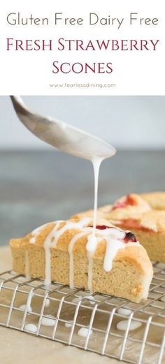 Easy dairy free gluten free strawberry scones are perfect with tea or coffee. How to make gluten free scones video will show you how to make these. The creamy icing drizzled on these scones is so good. via @fearlessdining