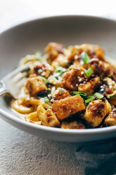Spicy Sesame Zoodles with Crispy Tofu