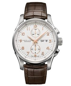 Hamilton Watch, Men's Swiss Automatic Chronograph Jazzmaster Maestro Brown Leather Strap 45mm H32766513