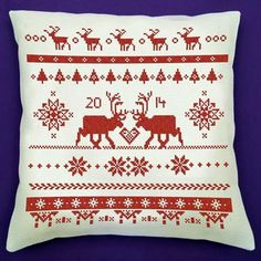 This design is immediately recognizable as Scandinavian with the reindeer and snowflakes.