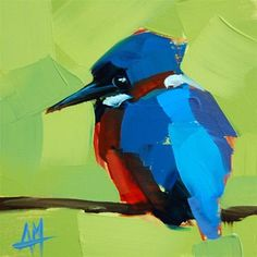 "Daily Paintworks - ""Kingfisher no. 9 Painting"" - Original Fine Art for Sale - © Angela Moulton"