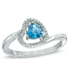 5.0mm Sideways Heart-Shaped Blue Topaz and Diamond Accent Ring in Sterling Silver  - Peoples Jewellers #Ring # In love <3