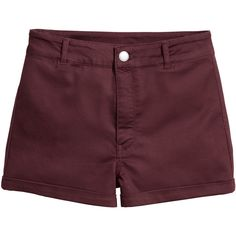 Shorts High Waist $17.99 ($18) ❤ liked on Polyvore featuring shorts, twill shorts, high-waisted shorts, burgundy high waisted shorts, highwaist shorts and high-rise shorts