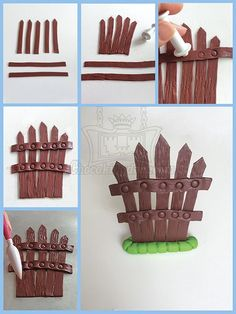 Fence Cake Topper Decoration More - Cake Topper Tutorial, Fondant Tutorial, Fondant Toppers, Fondant Cakes, Fondant Bow, 3d Cakes, Cake Decorating Techniques, Cake Decorating Tutorials, Decorating Supplies