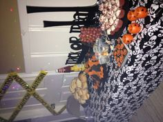 Halloween snack table set up.