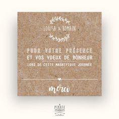 Carte de remerciements mariage champêtre, Couronne d'olivier-kraft - La Pirate