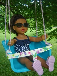 Karen Mom of Three's Craft Blog: A Wonderful Summer Time Doll Craft From Reader Fawn! A Doll Swing You Can Make From Dollar Store Items!