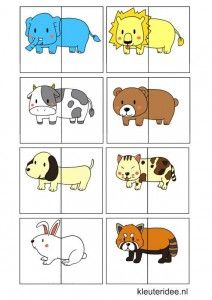 Dierenspel voor kleuters, kleuteridee.nl , animal match for preschool, free printable 2.